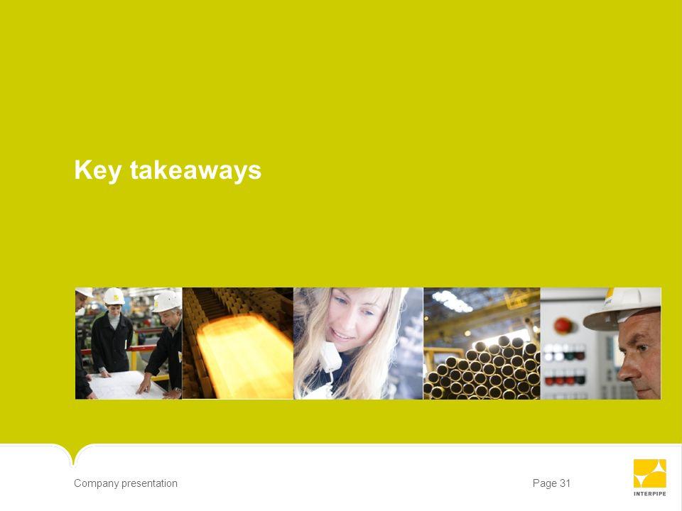 Page 31Company presentation Key takeaways
