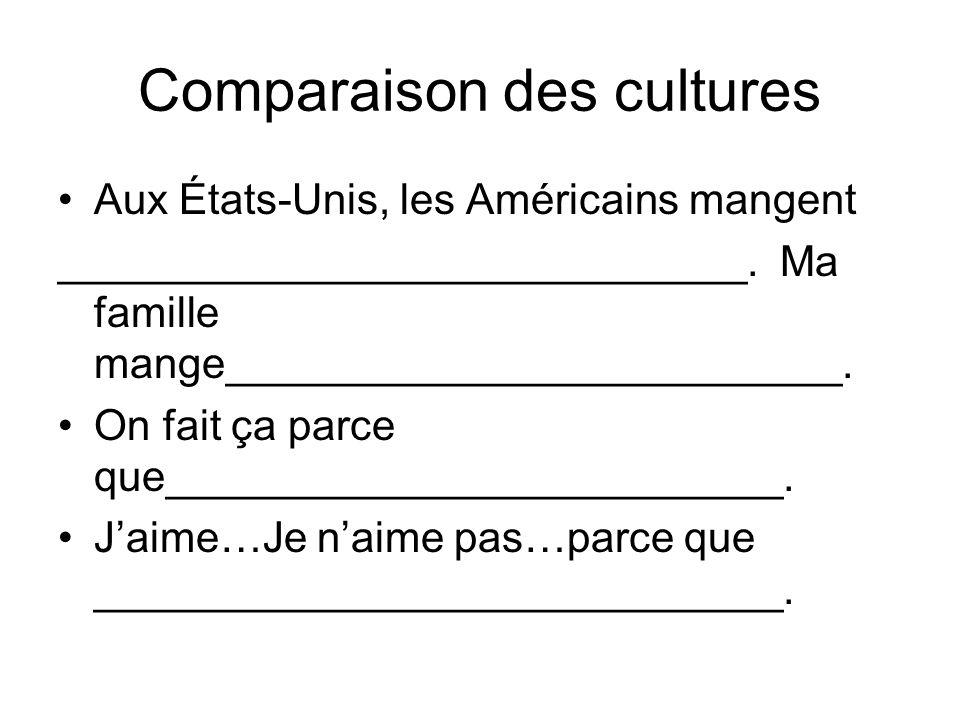 Comparaison des cultures Aux États-Unis, les Américains mangent _____________________________.