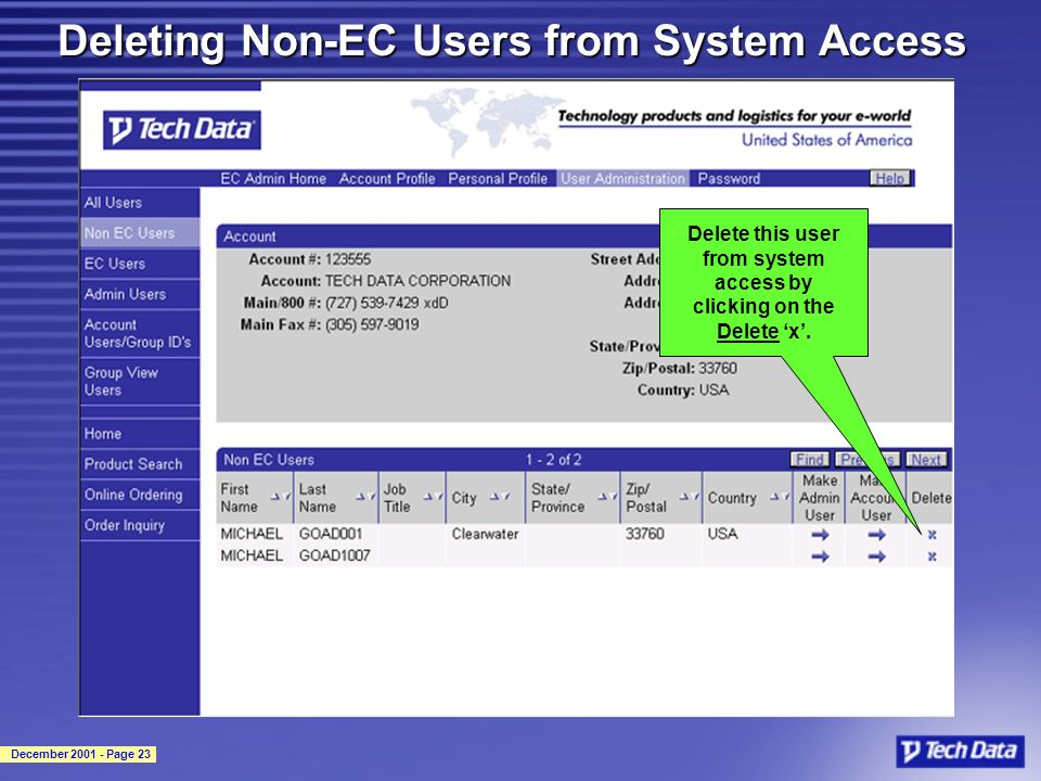 December 2001 - Page 23 Deleting Non-EC Users from System Access Delete this user from system access by clicking on the Delete x.