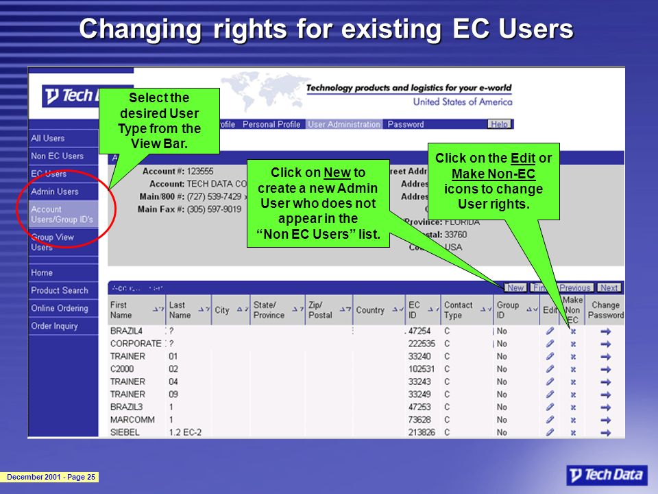 December 2001 - Page 25 Changing rights for existing EC Users Select the desired User Type from the View Bar. Click on the Edit or Make Non-EC icons t