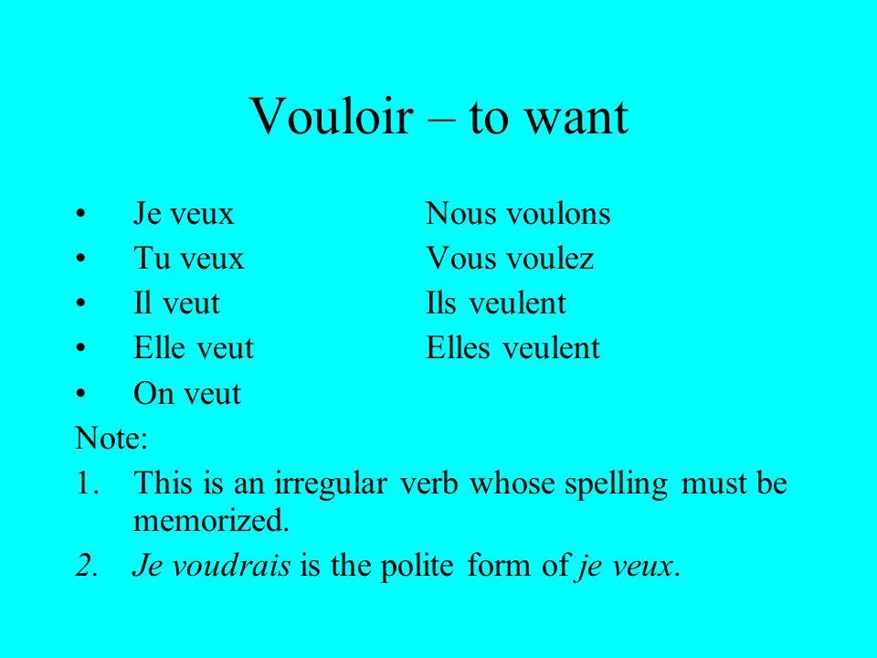 Pouvoir – to be able to (can) Je peuxNous pouvons Tu peuxVous pouvez Il peutIls peuvent Elle peutElles peuvent On peut Note: 1.This is an irregular verb whose spelling must be memorized.