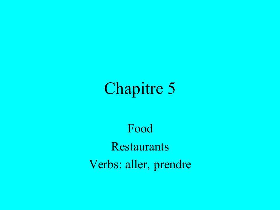 Chapitre 5 Food Restaurants Verbs: aller, prendre