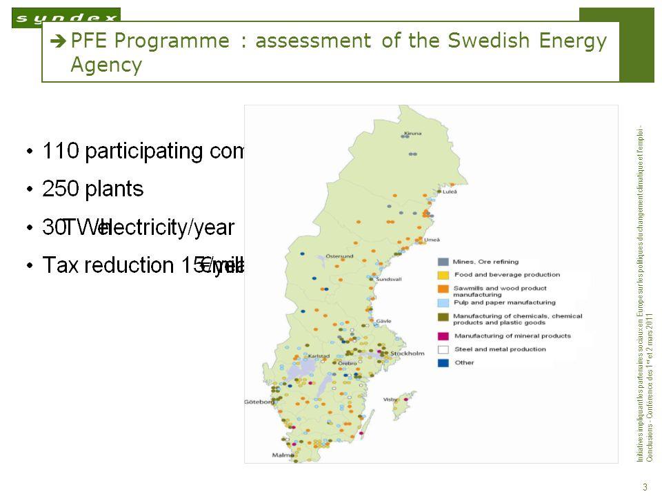 Initiatives impliquant les partenaires sociaux en Europe sur les politiques du changement climatique et lemploi - Conclusions - Conférence des 1 er et 2 mars 2011 4 Prerequisite conditions for participating in the PFE programme: The PFE is a voluntary programme to improve energy efficiency.