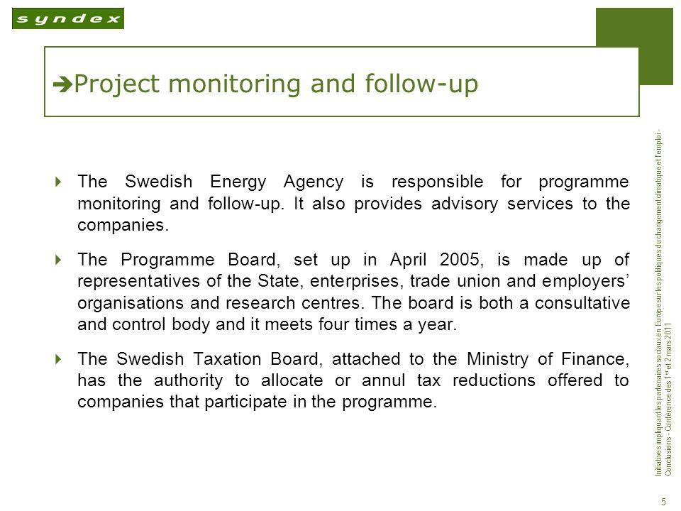 Initiatives impliquant les partenaires sociaux en Europe sur les politiques du changement climatique et lemploi - Conclusions - Conférence des 1 er et 2 mars 2011 5 Project monitoring and follow-up The Swedish Energy Agency is responsible for programme monitoring and follow-up.