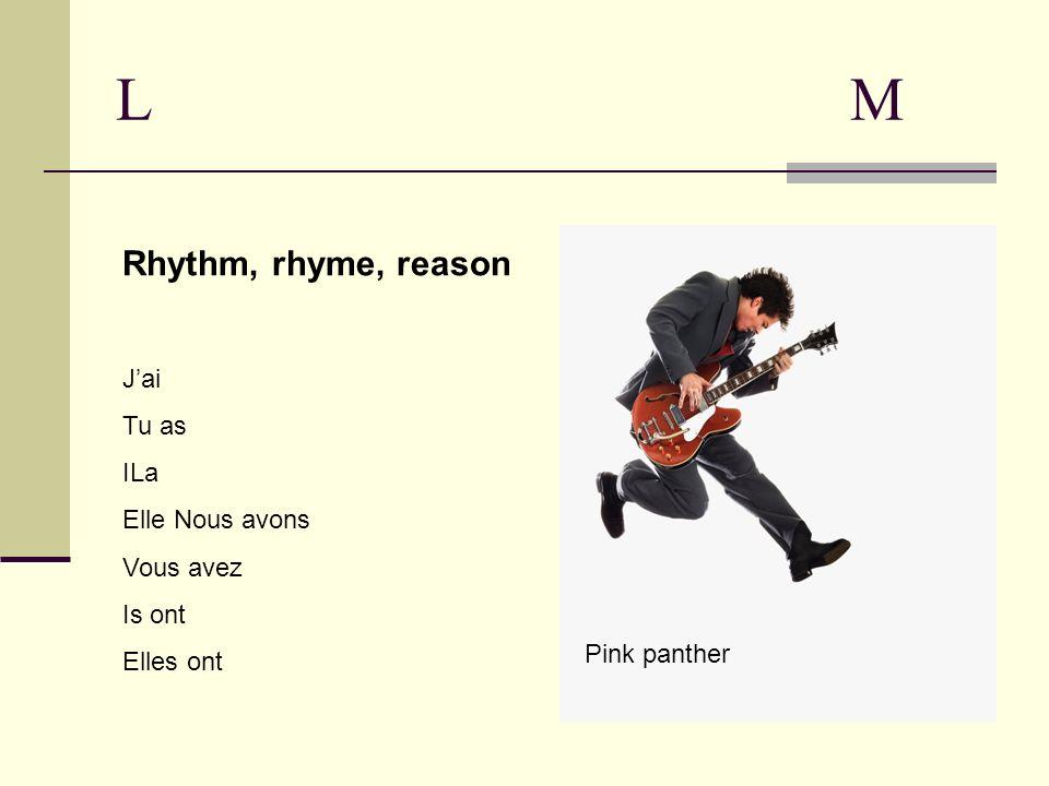 LMLM Rhythm, rhyme, reason Jai Tu as ILa Elle Nous avons Vous avez Is ont Elles ont Pink panther