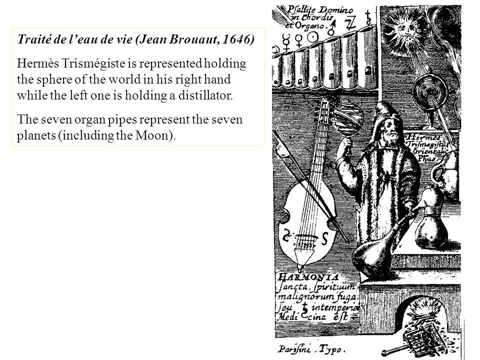 Traité de leau de vie (Jean Brouaut, 1646) Hermès Trismégiste is represented holding the sphere of the world in his right hand while the left one is h