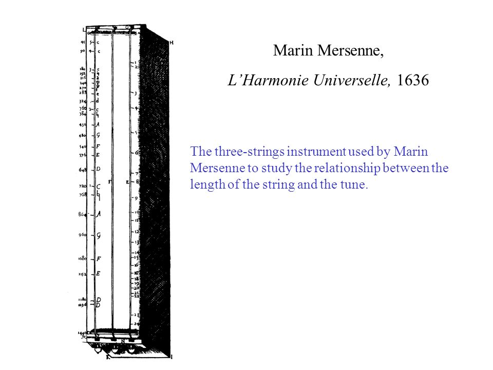 Marin Mersenne, LHarmonie Universelle, 1636 The three-strings instrument used by Marin Mersenne to study the relationship between the length of the string and the tune.