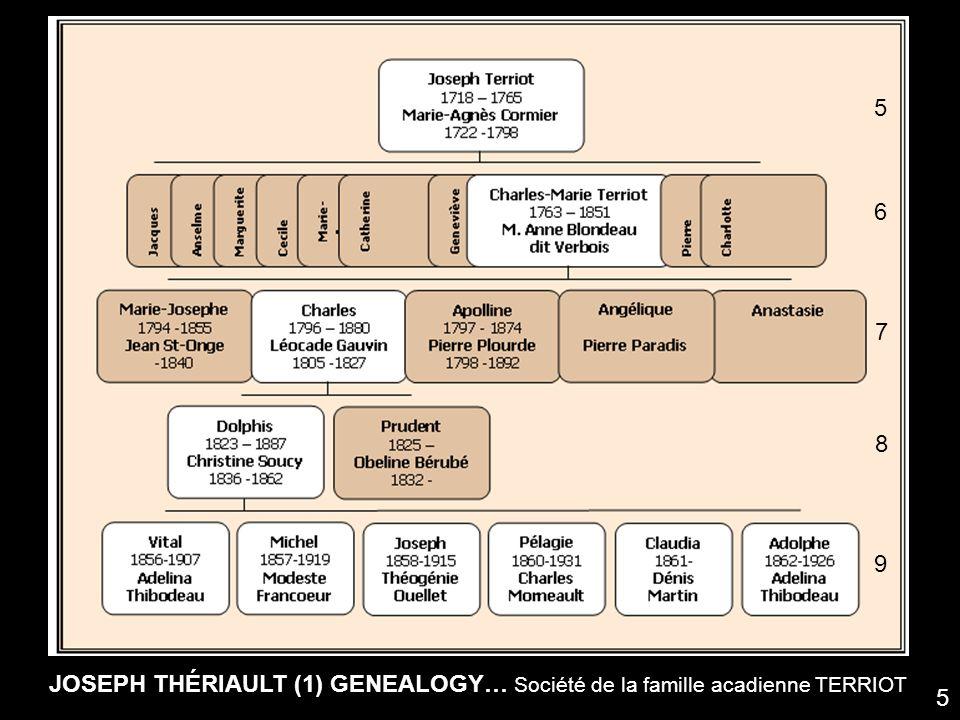 JOSEPH THÉRIAULT (1) GENEALOGY… Société de la famille acadienne TERRIOT 5 6 7 8 9 5