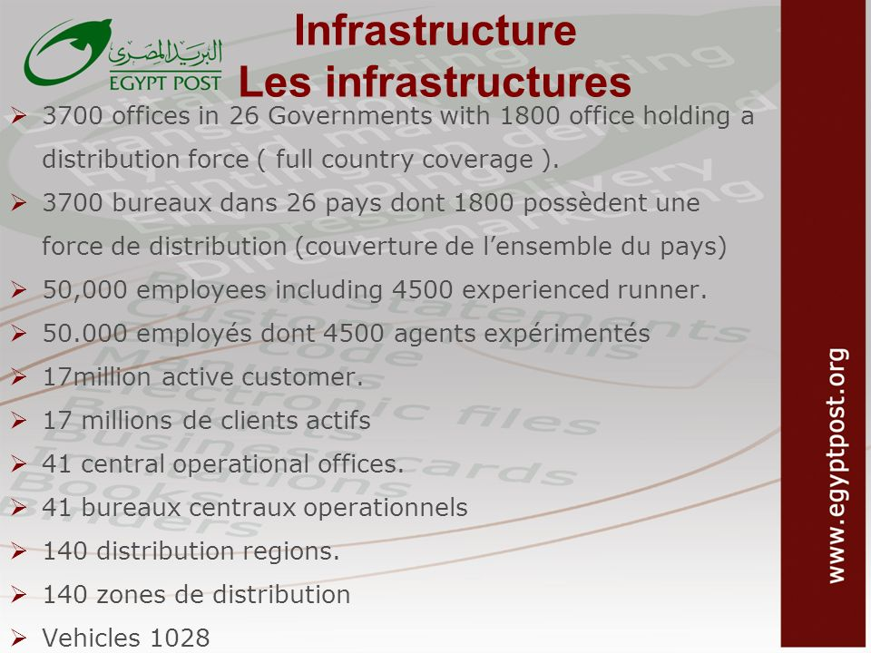 Infrastructure Les infrastructures 3700 offices in 26 Governments with 1800 office holding a distribution force ( full country coverage ). 3700 bureau