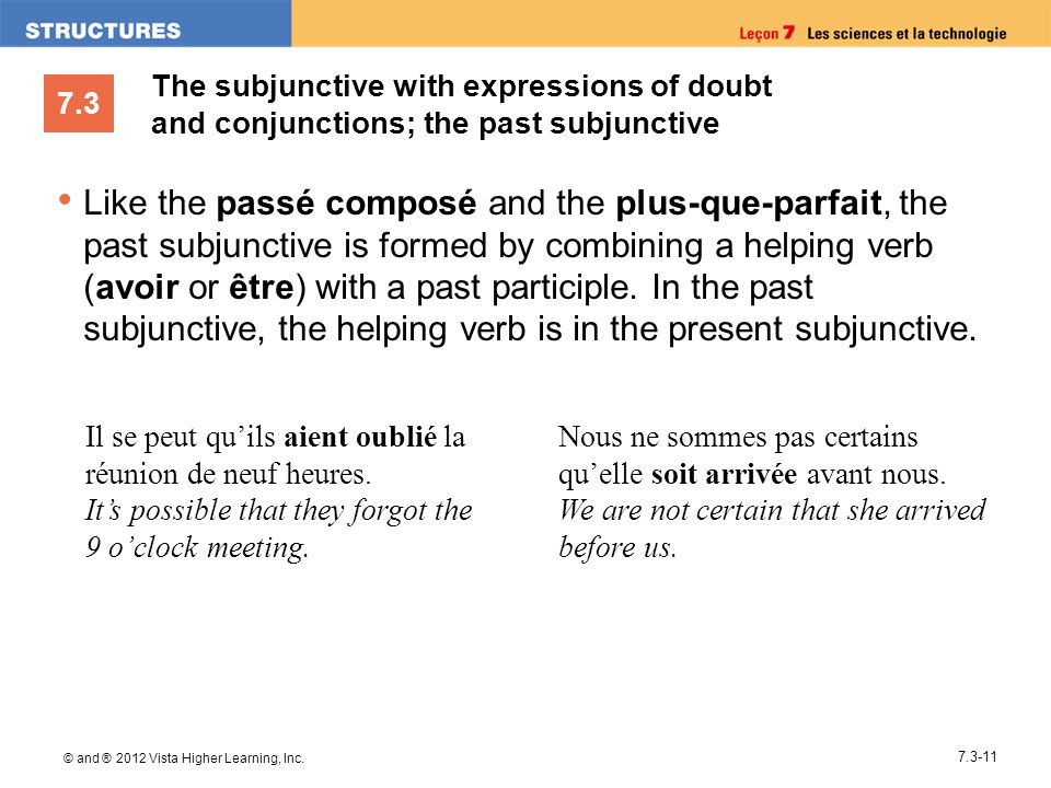 7.3 © and ® 2012 Vista Higher Learning, Inc. 7.3-11 Like the passé composé and the plus-que-parfait, the past subjunctive is formed by combining a hel