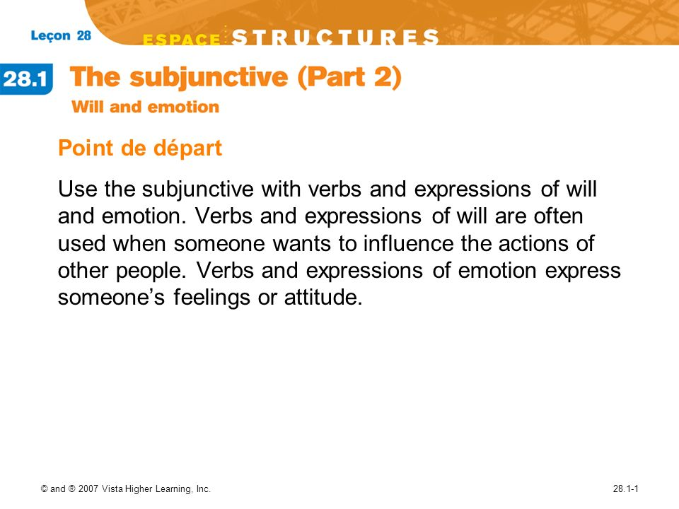 © and ® 2007 Vista Higher Learning, Inc.28.1-1 Point de départ Use the subjunctive with verbs and expressions of will and emotion.