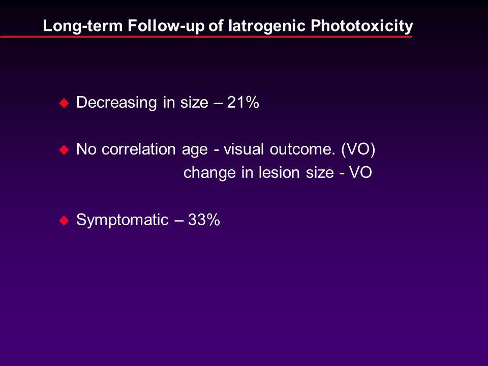 u Decreasing in size – 21% u No correlation age - visual outcome. (VO) change in lesion size - VO u Symptomatic – 33%