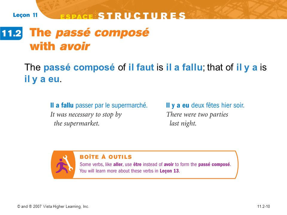 © and ® 2007 Vista Higher Learning, Inc.11.2-10 The passé composé of il faut is il a fallu; that of il y a is il y a eu.