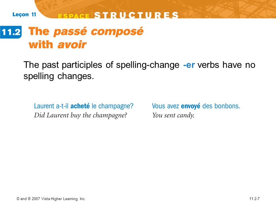 © and ® 2007 Vista Higher Learning, Inc.11.2-7 The past participles of spelling-change -er verbs have no spelling changes.