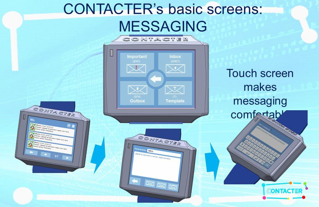 CONTACTERs basic screens: SCREEN 2 – SELECTED USER B2B version NAME OF SELECTED USER STATUS & AVATAR FROM USERS PROFILE DISTANCE SELECTED USERS PROFILE SEND SMS SAY HI !!!.