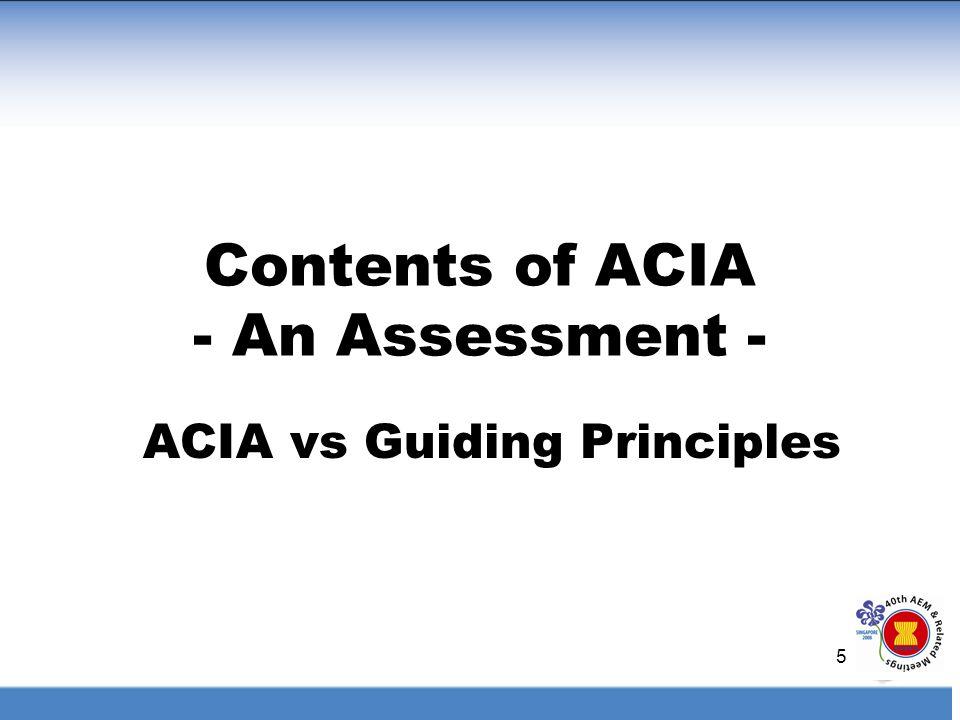 5 Contents of ACIA - An Assessment - ACIA vs Guiding Principles