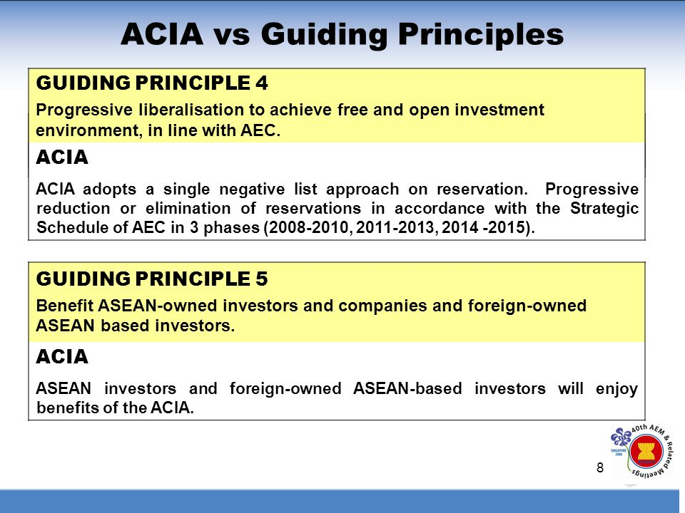 8 ACIA vs Guiding Principles GUIDING PRINCIPLE 5 Benefit ASEAN-owned investors and companies and foreign-owned ASEAN based investors. GUIDING PRINCIPL