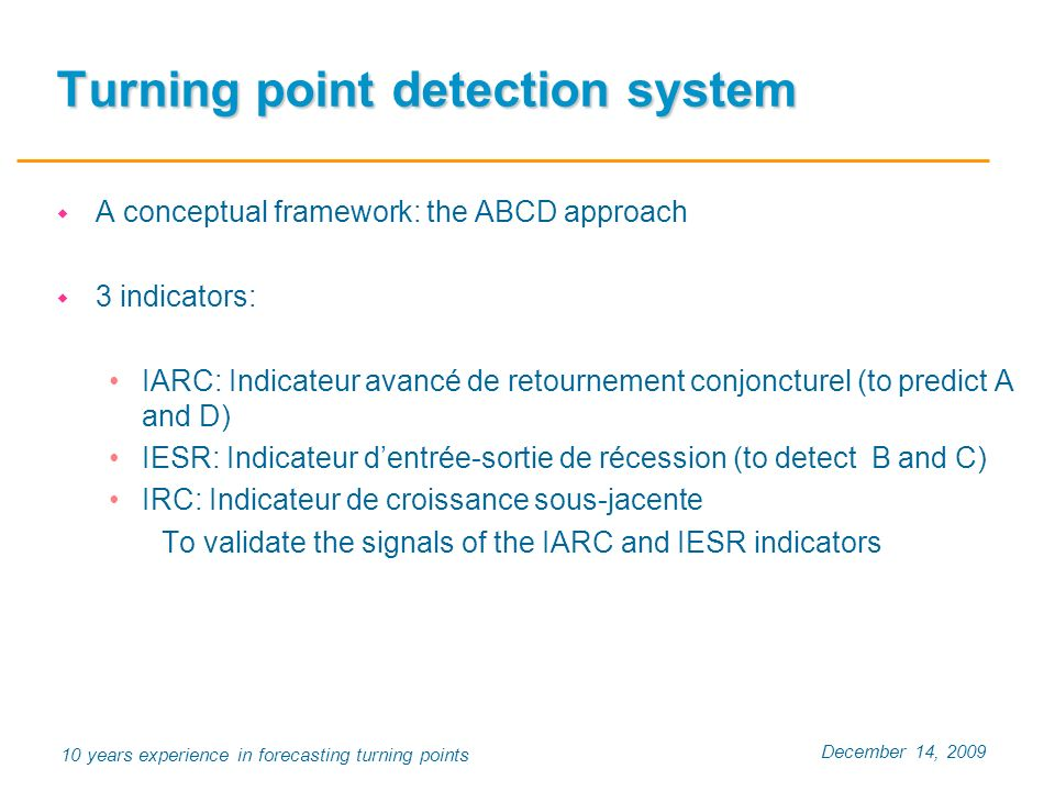 December 14, 2009 10 years experience in forecasting turning points Turning point detection system A conceptual framework: the ABCD approach 3 indicat