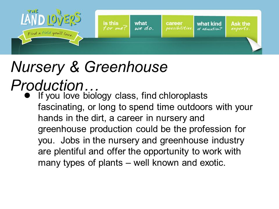 Nursery & Greenhouse Production… If you love biology class, find chloroplasts fascinating, or long to spend time outdoors with your hands in the dirt, a career in nursery and greenhouse production could be the profession for you.