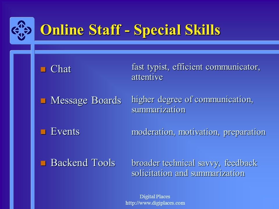 Digital Places http://www.digiplaces.com Online Staff - Special Skills n Chat n Message Boards n Events n Backend Tools fast typist, efficient communi