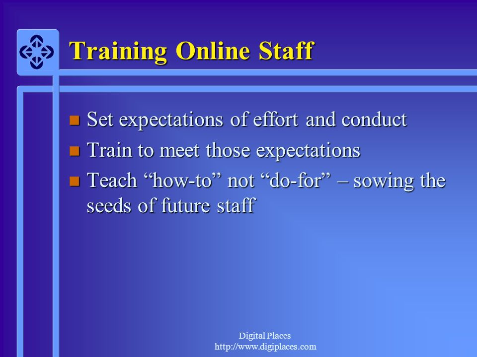 Digital Places http://www.digiplaces.com Training Online Staff n Set expectations of effort and conduct n Train to meet those expectations n Teach how