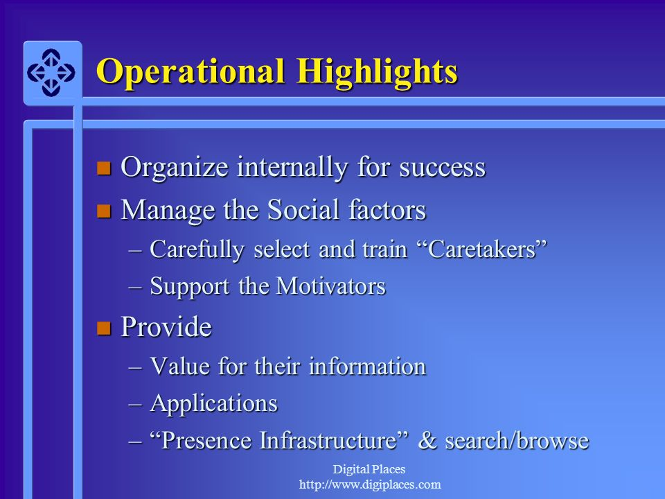 Digital Places http://www.digiplaces.com Operational Highlights n Organize internally for success n Manage the Social factors –Carefully select and tr