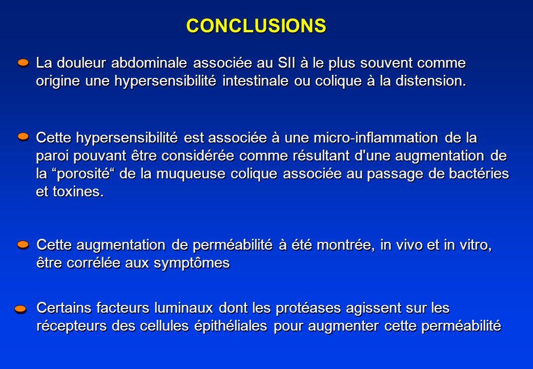 CONCLUSIONS La douleur abdominale associée au SII à le plus souvent comme origine une hypersensibilité intestinale ou colique à la distension. Cette h