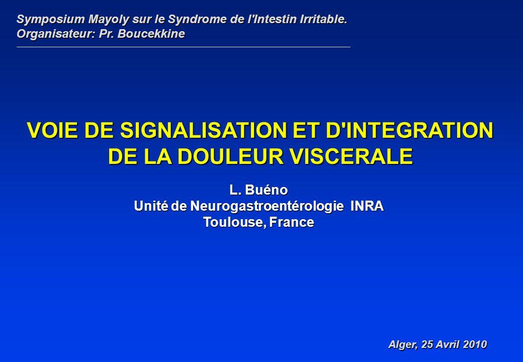 L. Buéno Unité de Neurogastroentérologie INRA Toulouse, France Symposium Mayoly sur le Syndrome de l'Intestin Irritable. Organisateur: Pr. Boucekkine
