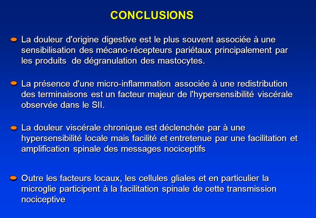 CONCLUSIONS La douleur d'origine digestive est le plus souvent associée à une sensibilisation des mécano-récepteurs pariétaux principalement par les p