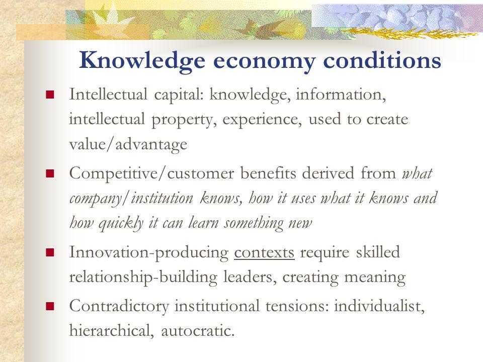 Knowledge economy conditions Intellectual capital: knowledge, information, intellectual property, experience, used to create value/advantage Competiti
