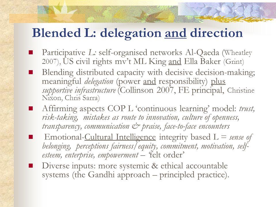 Blended L: delegation and direction Participative L: self-organised networks Al-Qaeda ( Wheatley 2007), US civil rights mvt ML King and Ella Baker (Gr