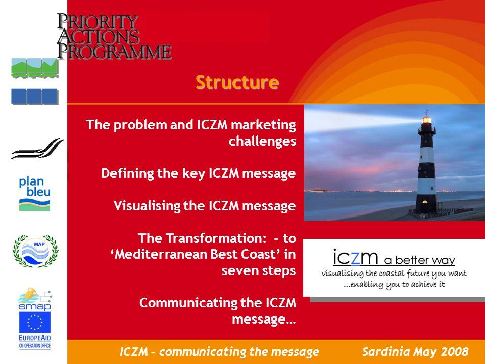 Workshop to present ICZM Policy Brief, Rabat, May 8th, 2007 LAtelier de présentation des Programmes cadres de GIZC pour le Maroc, Rabat, le 8 Mai 2007 ICZM – communicating the messageSardinia May 2008 Visualising the message New language New images New communication techniques New media