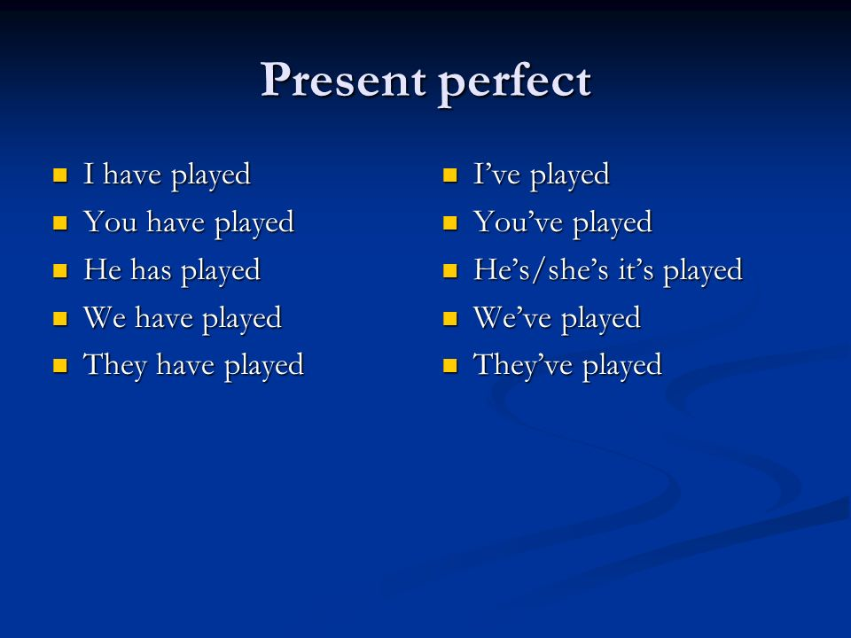 Present perfect I have played I have played You have played You have played He has played He has played We have played We have played They have played They have played Ive played Youve played Hes/shes its played Weve played Theyve played