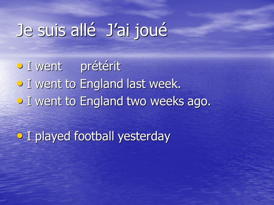 Je suis allé Jai joué I went prétérit I went prétérit I went to England last week. I went to England last week. I went to England two weeks ago. I wen