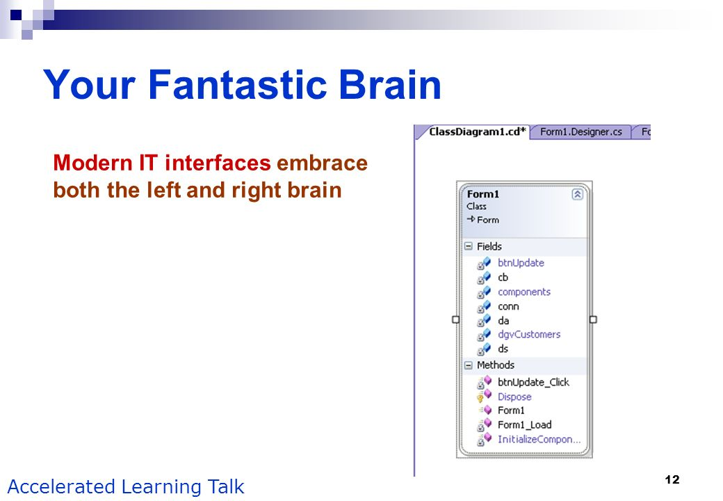12 Accelerated Learning Talk Your Fantastic Brain Modern IT interfaces embrace both the left and right brain