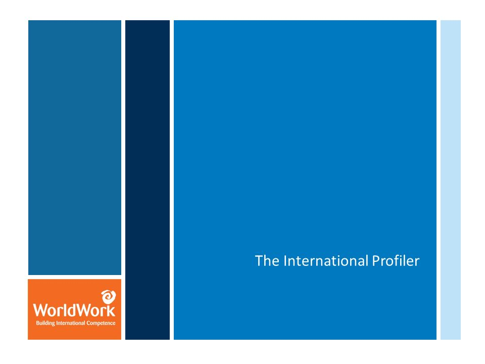 Background of The International Profiler WorldWorks International Competency Set The tool – overview of The International Profiler What kind of output does it produce.