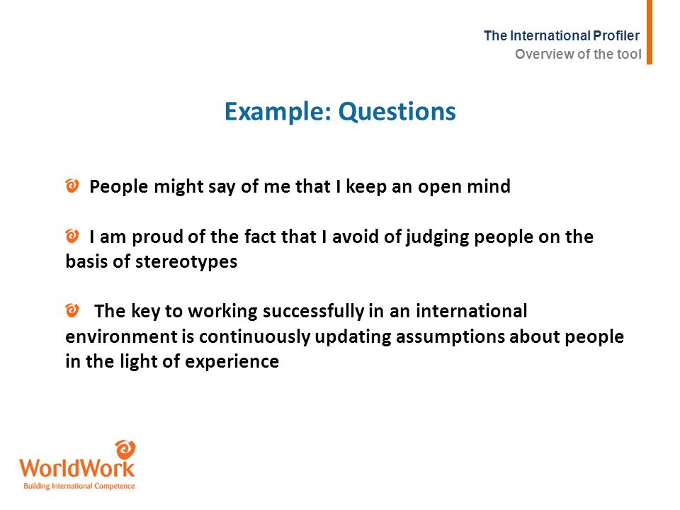The International Profiler Example: Questions People might say of me that I keep an open mind I am proud of the fact that I avoid of judging people on
