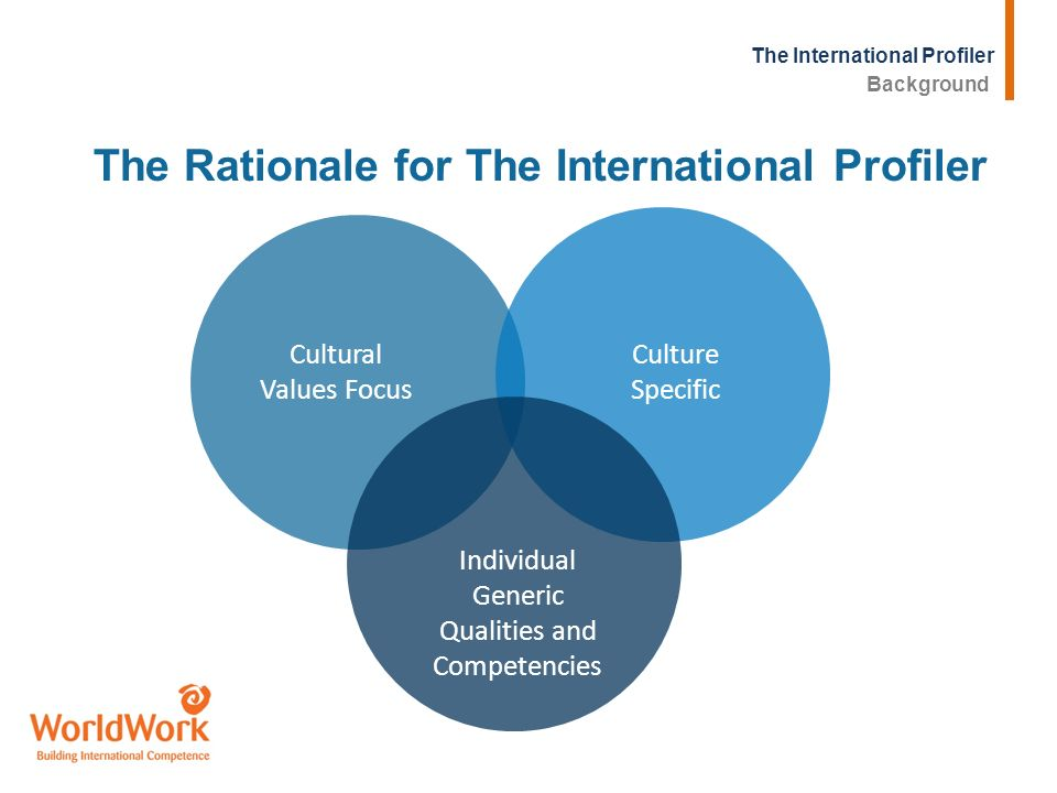 The International Profiler Cultural Values Focus Culture Specific Individual Generic Qualities and Competencies The Rationale for The International Pr