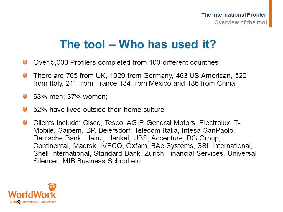 The International Profiler 9 The tool – Who has used it? Over 5,000 Profilers completed from 100 different countries There are 765 from UK, 1029 from