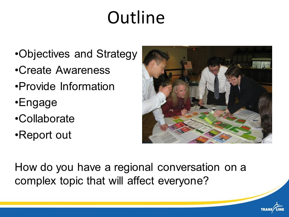 Outline Objectives and Strategy Create Awareness Provide Information Engage Collaborate Report out How do you have a regional conversation on a complex topic that will affect everyone?