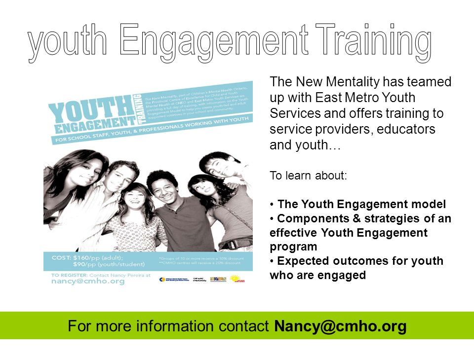 The New Mentality has teamed up with East Metro Youth Services and offers training to service providers, educators and youth… To learn about: The Yout
