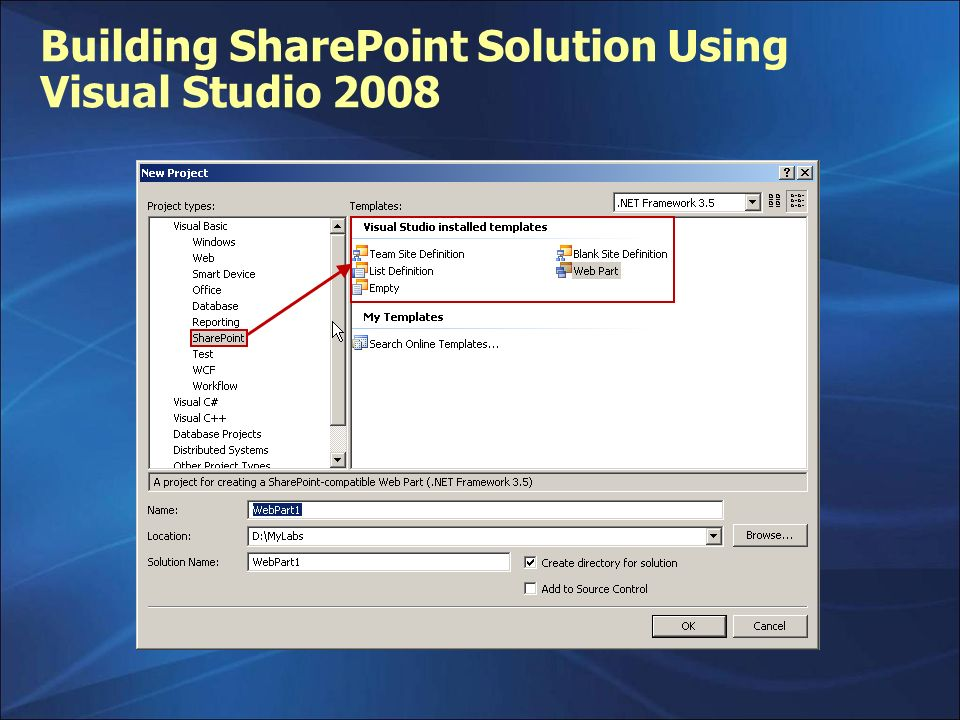 Building SharePoint Solution Using Visual Studio 2008