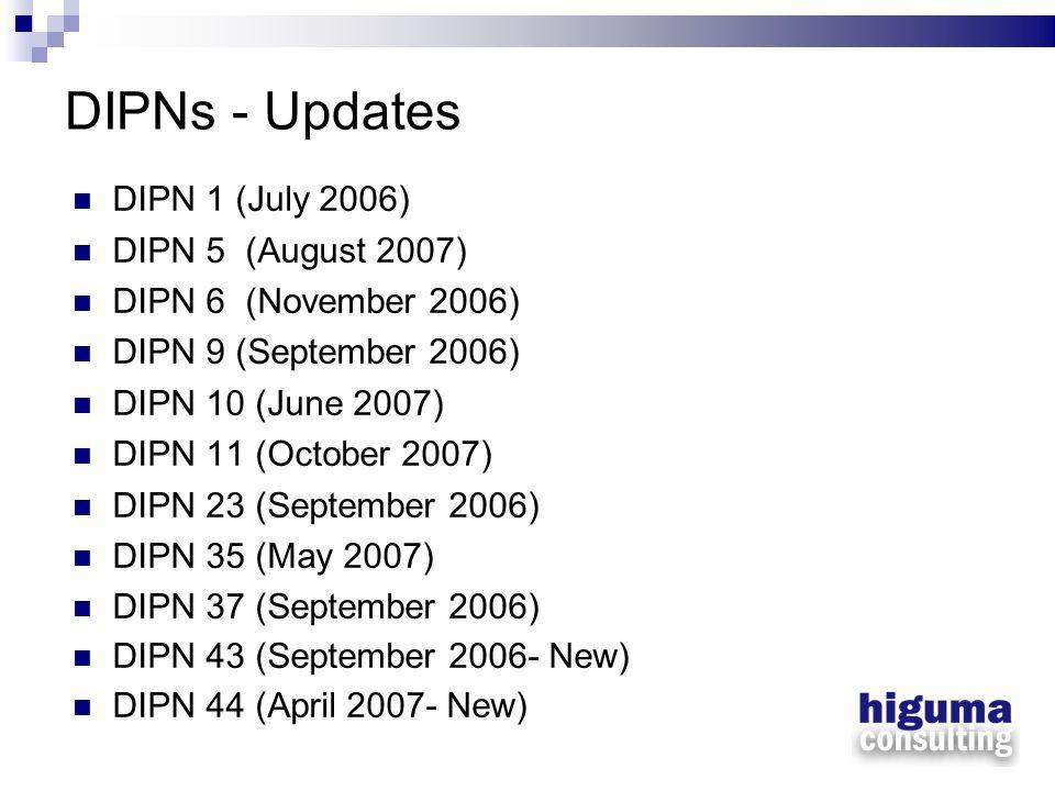 DIPNs - Updates DIPN 1 (July 2006) DIPN 5 (August 2007) DIPN 6 (November 2006) DIPN 9 (September 2006) DIPN 10 (June 2007) DIPN 11 (October 2007) DIPN