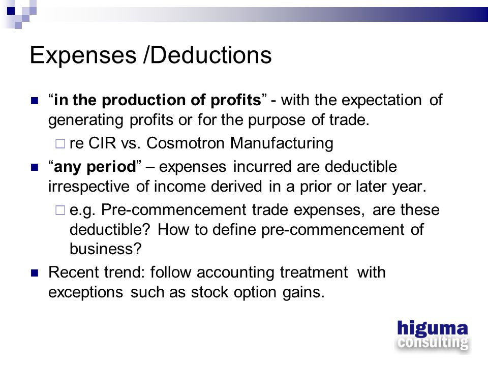 Expenses /Deductions in the production of profits - with the expectation of generating profits or for the purpose of trade. re CIR vs. Cosmotron Manuf