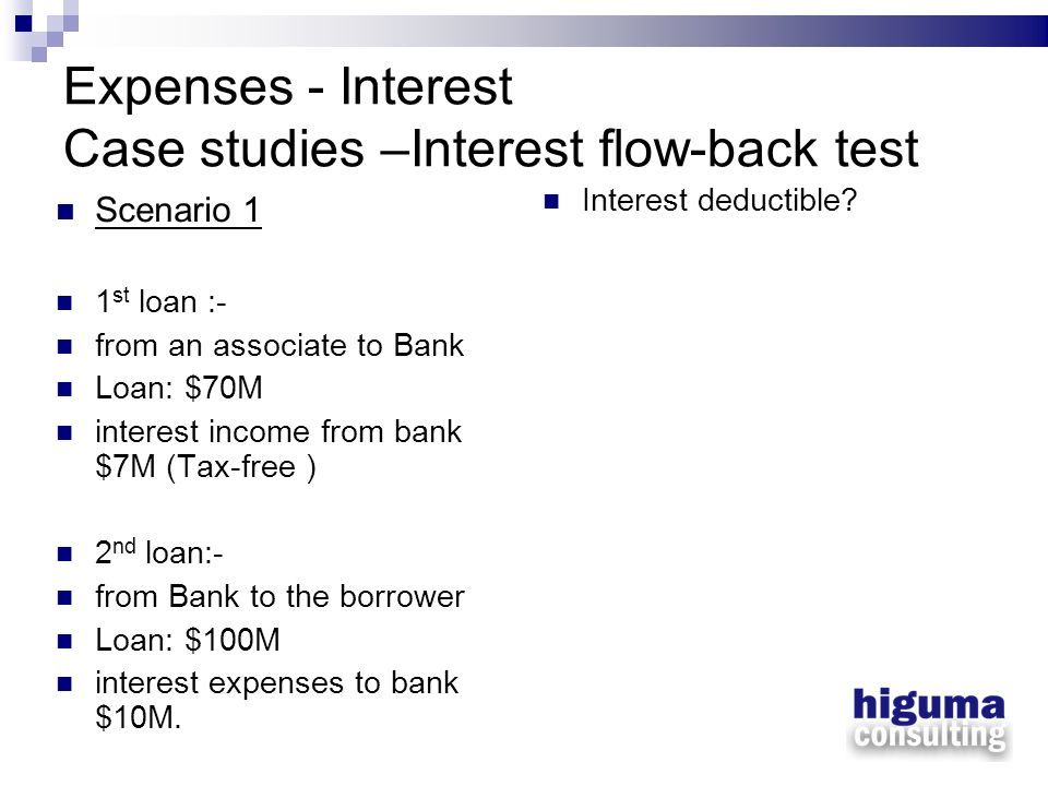 Expenses - Interest Case studies –Interest flow-back test Scenario 1 1 st loan :- from an associate to Bank Loan: $70M interest income from bank $7M (