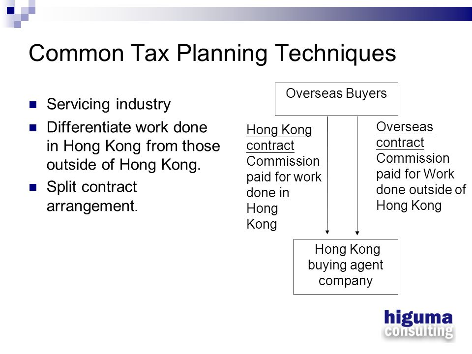 Common Tax Planning Techniques Servicing industry Differentiate work done in Hong Kong from those outside of Hong Kong. Split contract arrangement. Ov