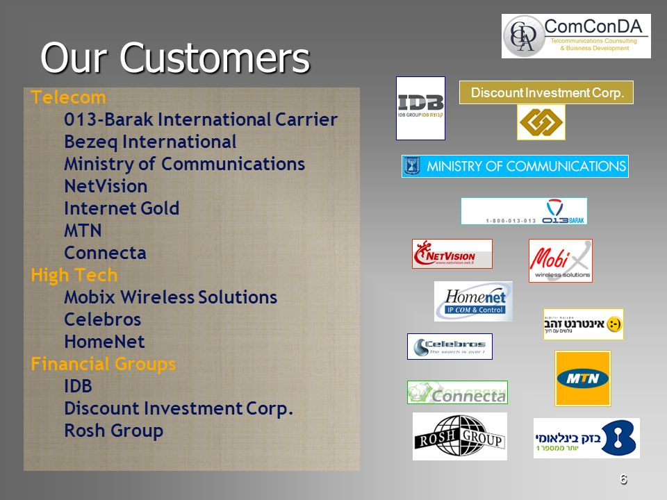 6 Our Customers Telecom 013-Barak International Carrier Bezeq International Ministry of Communications NetVision Internet Gold MTN Connecta High Tech Mobix Wireless Solutions Celebros HomeNet Financial Groups IDB Discount Investment Corp.