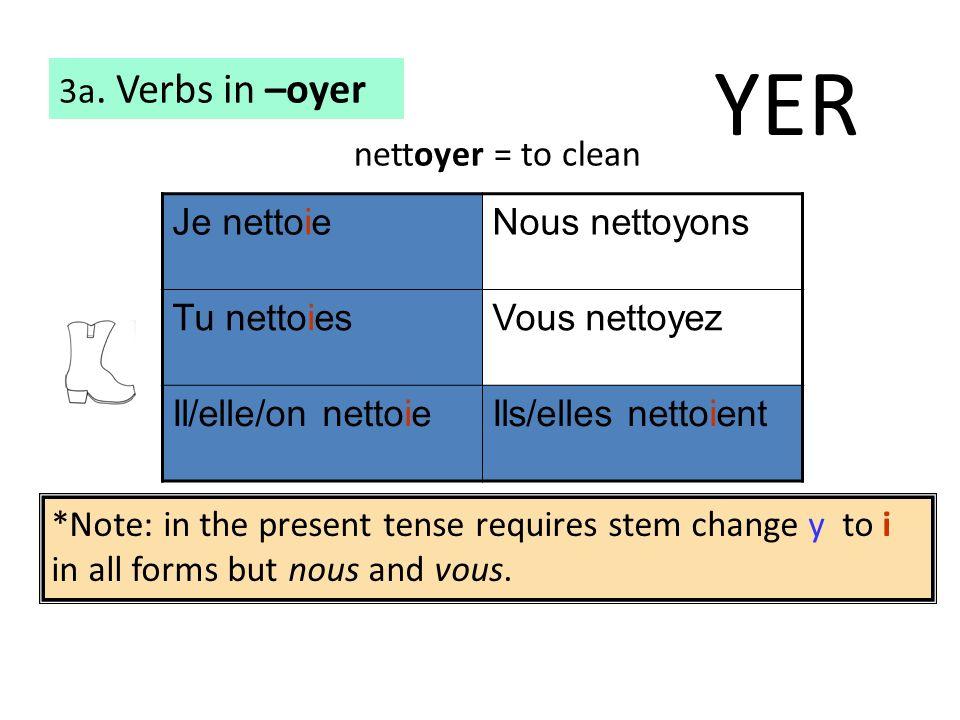 3a. Verbs in –oyer Je nettoieNous nettoyons Tu nettoiesVous nettoyez Il/elle/on nettoieIls/elles nettoient nettoyer = to clean *Note: in the present t