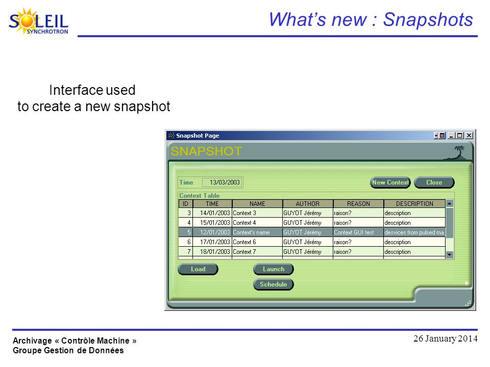 Archivage « Contrôle Machine » Groupe Gestion de Données 26 January 2014 Whats new : Snapshots Interface used to create a new snapshot