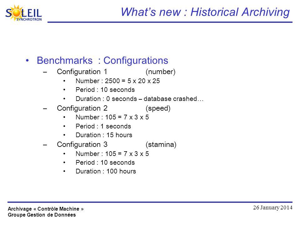 Archivage « Contrôle Machine » Groupe Gestion de Données 26 January 2014 Whats new : Historical Archiving Benchmarks : Configurations –Configuration 1
